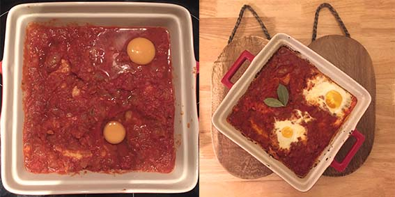 baked chilli tomato eggs - cooking
